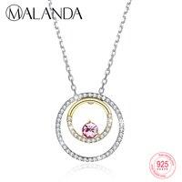 MALANDA Кристалл от Swarovski подвеска с двумя кругами цепочки и ожерелья для женщин 925 пробы цвет серебристый, золотой цвет s модные украшения