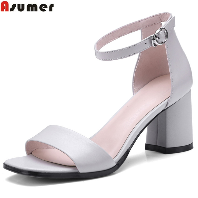 ASUMER 2018 fashion summer new arrival shoes woman square heel buckle elegant wedding shoes woman sandals genuine leather shoes bfdadi 2018 new arrival hat genuine