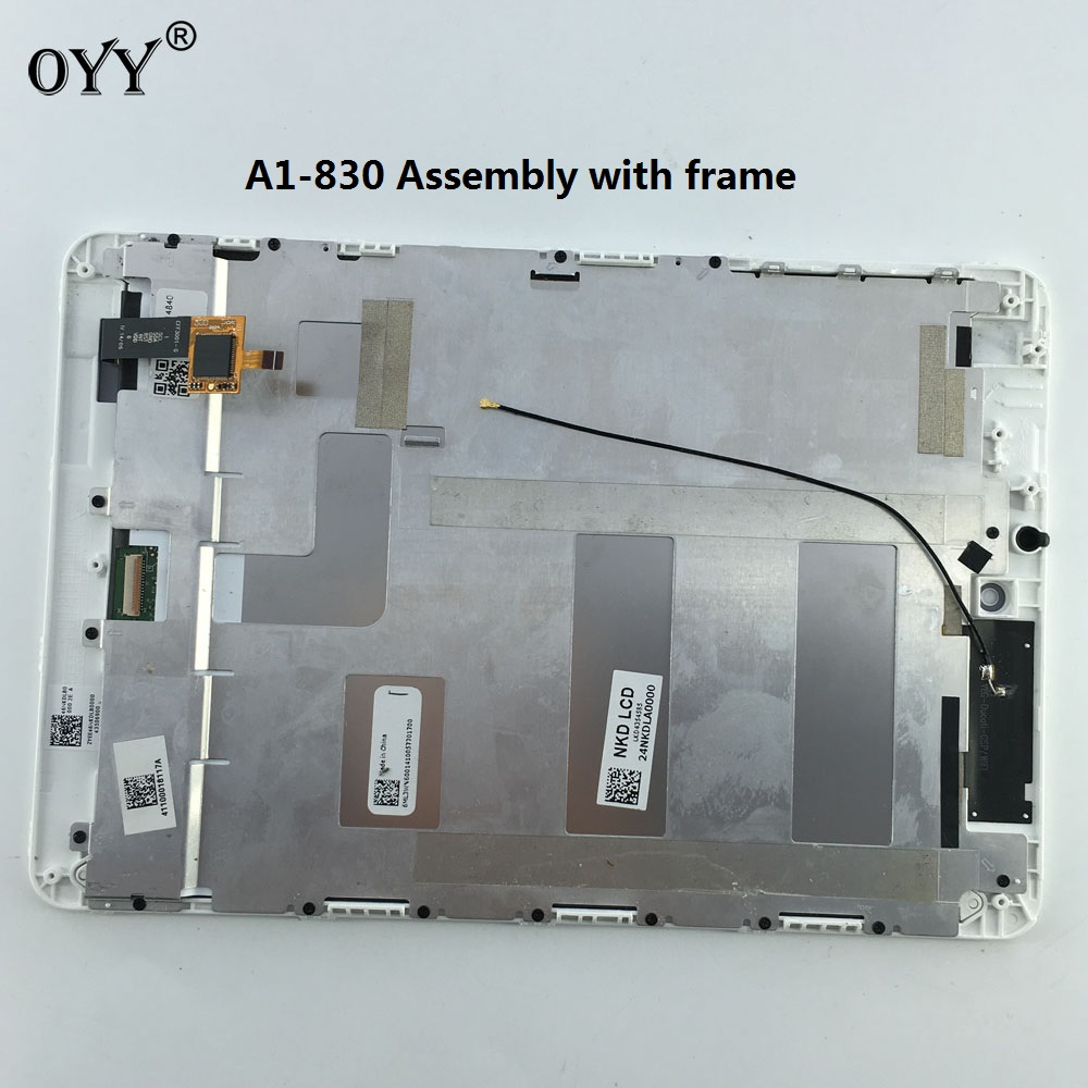 used parts LCD Display Panel Screen Monitor Touch Screen Digitizer Glass Assembly with frame for Acer Iconia A1-830 A1 830 White 5pcs lot high quality 7 9 for acer iconia a1 830 a1 830 25601g01nsw touch screen sensor tablet digitizer panel front glass lens