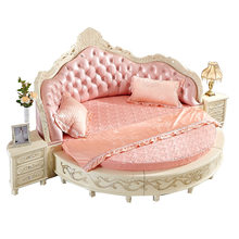 European Girl Luxury Bedroom Furniture Genuine Leather Round Bed(China)
