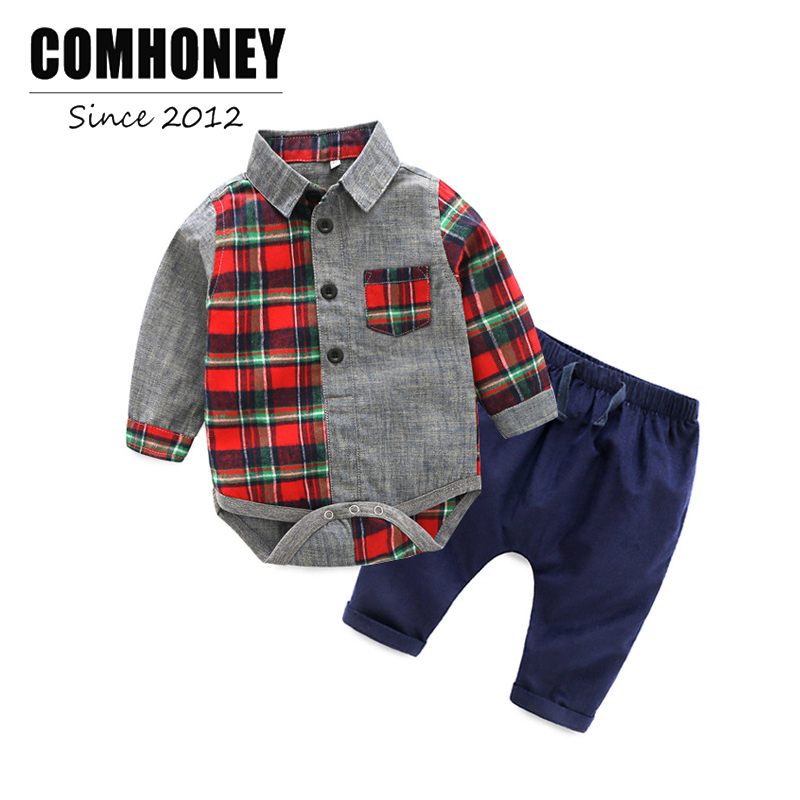 Baby Boys Clothes Sets Wedding Kids Suit For Newborn Gentleman 2 Sets New Red Plaid