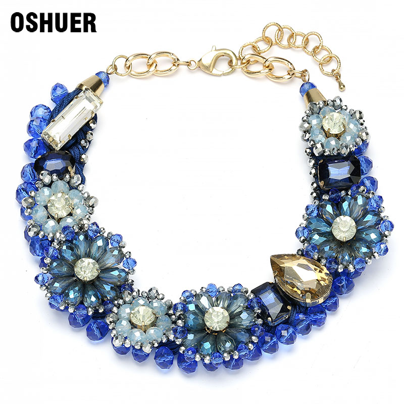 OSHUER handmade Statement Choker Jewelry Fashion Red Brown Color Crystal beads Flowers Big Pendants Vintage Necklaces For Women