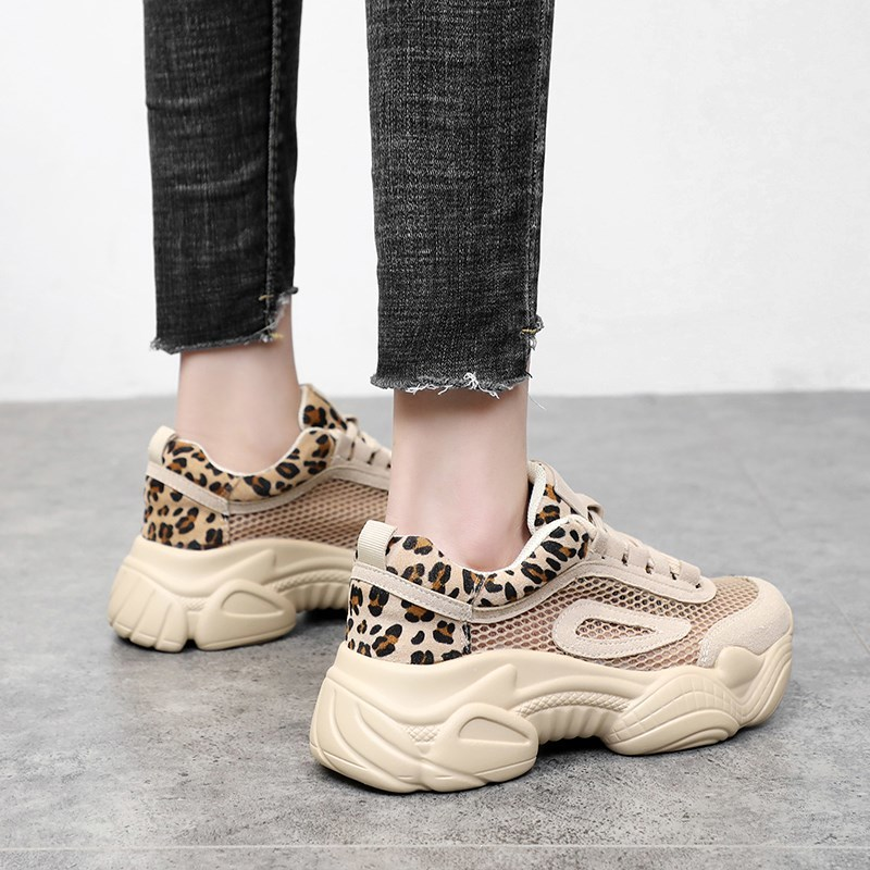 2019 flat bottomed sports shoes leopard print breathable mesh thick soled casual non slip fashion lace wild Roman women 39 s shoes in Women 39 s Flats from Shoes