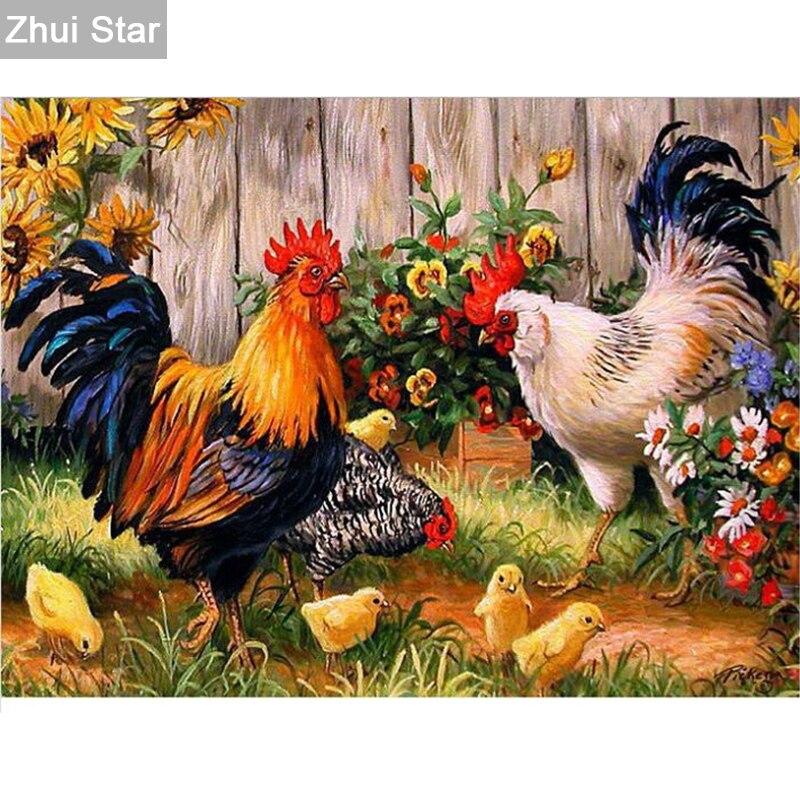 Diamond painting Cross stitch Diy Diamond embroidery Chicken in the garden 45*30 round drill Diamond mosaic pasted Needlework LX