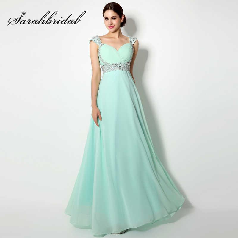 Barato Beading Lantejoulas Mãe da Noiva Vestidos Chiffon Querida Lace Up Voltar Mulheres Vestido de Festa À Noite Vestidos Longos OS179