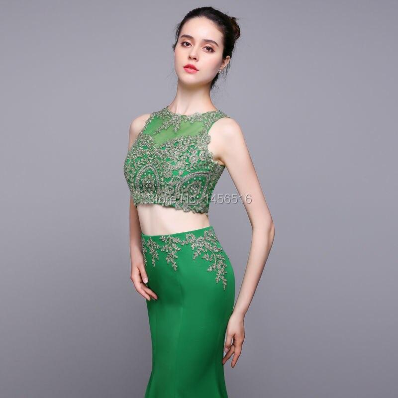 Echt Fotos Zwei Stück Grün Prom Kleider 2018 Vestidos De Graduacion ...