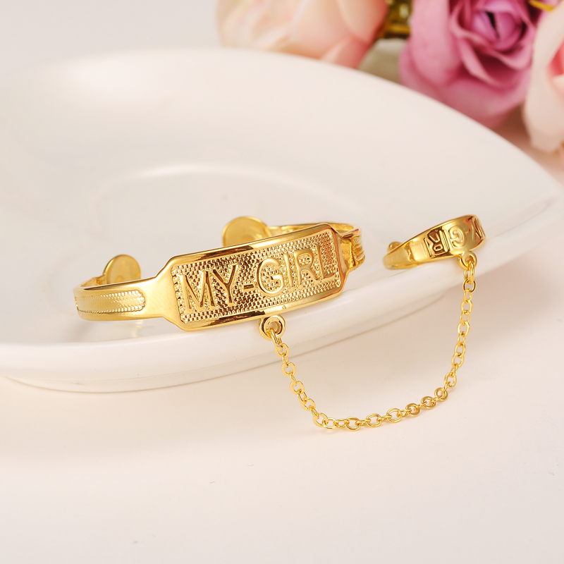 Dubai Gold Stamp baby SMALL girl Bangle Child Bracelet With Ring