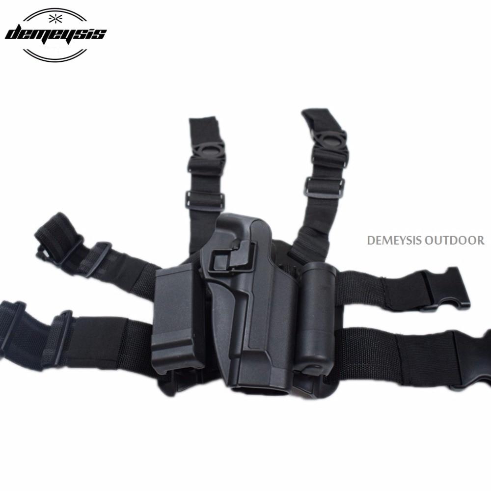 Black Tan Beretta Gun Holster with Magazine pouch Right Hand Leg Gun Pistol  Holster for Beretta m9