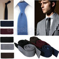 New Fashion High Quality Hot New Waffle Woven Knitted Knit Slim Wedding Flat Tie Narrow Necktie 13 colors Wholesale S093