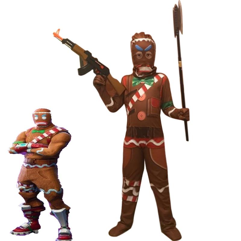 Gingerbread Cosplay Costume Kids Streetwear Costumes Boys Jumpsuits FfortnitedCos Children Halloween Festive Party Supplies