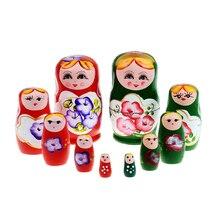Baby Wooden Toys 5pcs Matryoshka Doll Set Russian Nesting Babushka Matryoshka Hand Paint Crafts Souvenir Toys for Children Girls
