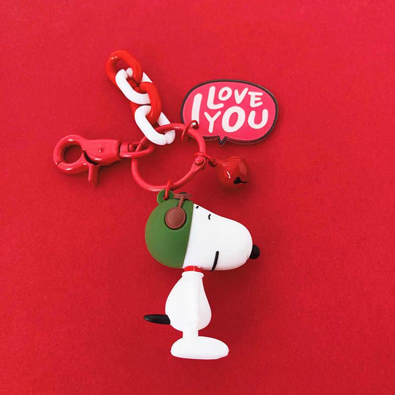 Nuevo llavero de Anime para muñecas de personaje Snoopy de Charley brown para hombres y mujeres bolsos de silicona muñeca coche llave anillo