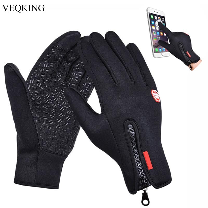 VEQKING-gants de Sport en plein air d'hiver, antidérapants, coupe-vent, en molleton, pour la course au chaud, à écran tactile, pour hommes et femmes