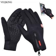 Veqking tela sensível ao toque luvas esportivas ao ar livre à prova de vento, luvas de corrida quentes térmicas do velo do inverno dos homens, luvas antiderrapantes do ciclismo