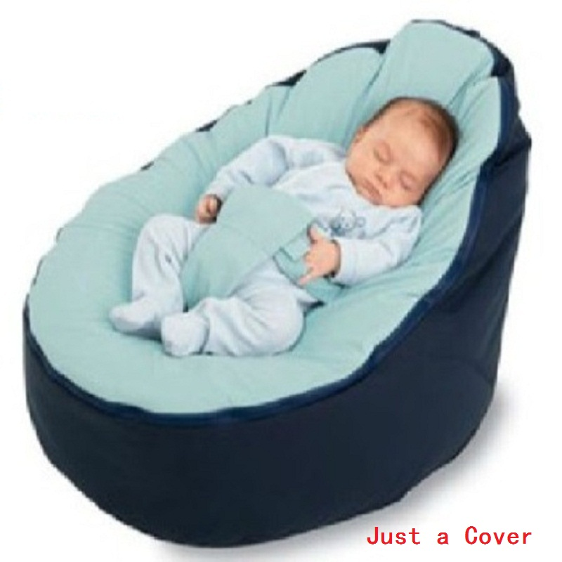 Just A Cover Baby Feeding Chair Portable Baby Pouf With Belt Harness Safety Protection Soft Sleeping Bean Bag Bed For Kids
