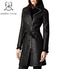 Chaqueta de Invierno para mujer piel de oveja abrigo de piel de cuero genuino negro doble pecho largo feminino mantener caliente chaqueta de piel de lana integrada