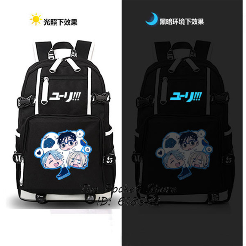 YURI on ICE Cosplay Backpack Victor Nikiforov Cartoon Women Backpack Canvas School Bags for Girls Mochila Feminina Travel Bags
