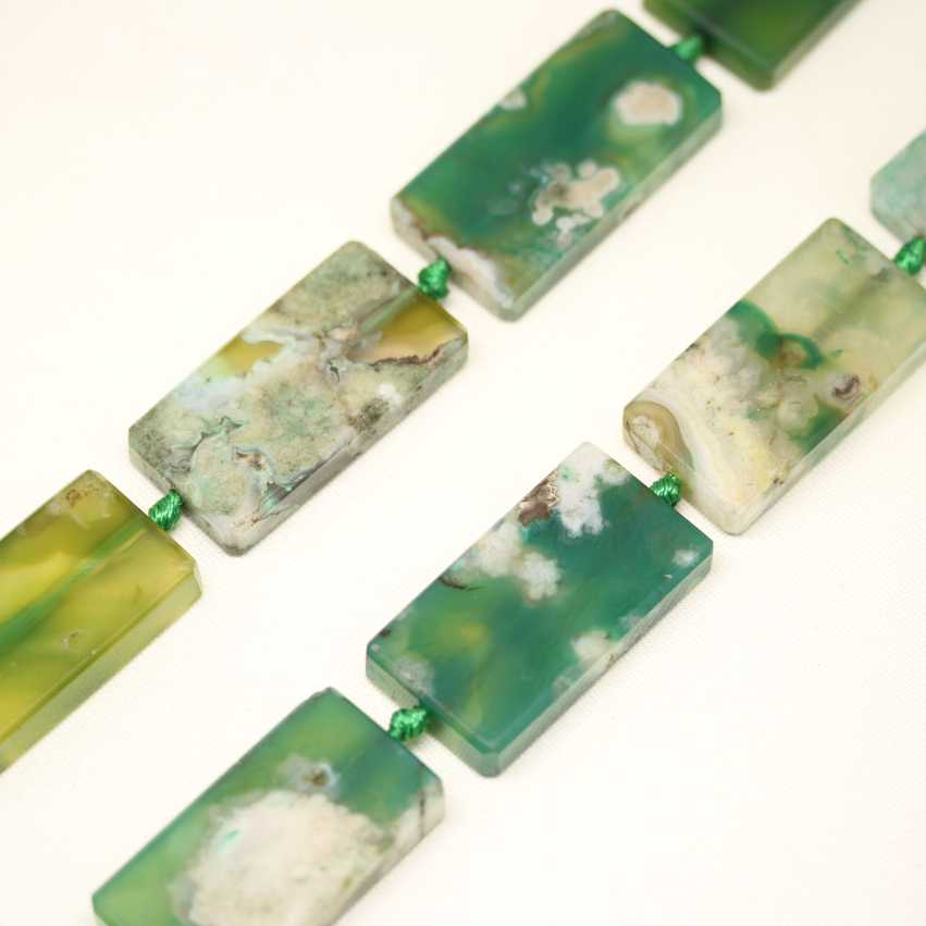 9pcs Green Cherry Blossom Agates Drilled Rectangle Beads Crafts Jewelry,23x43mm Natural Agates Slice Loose Beads Making,EF191