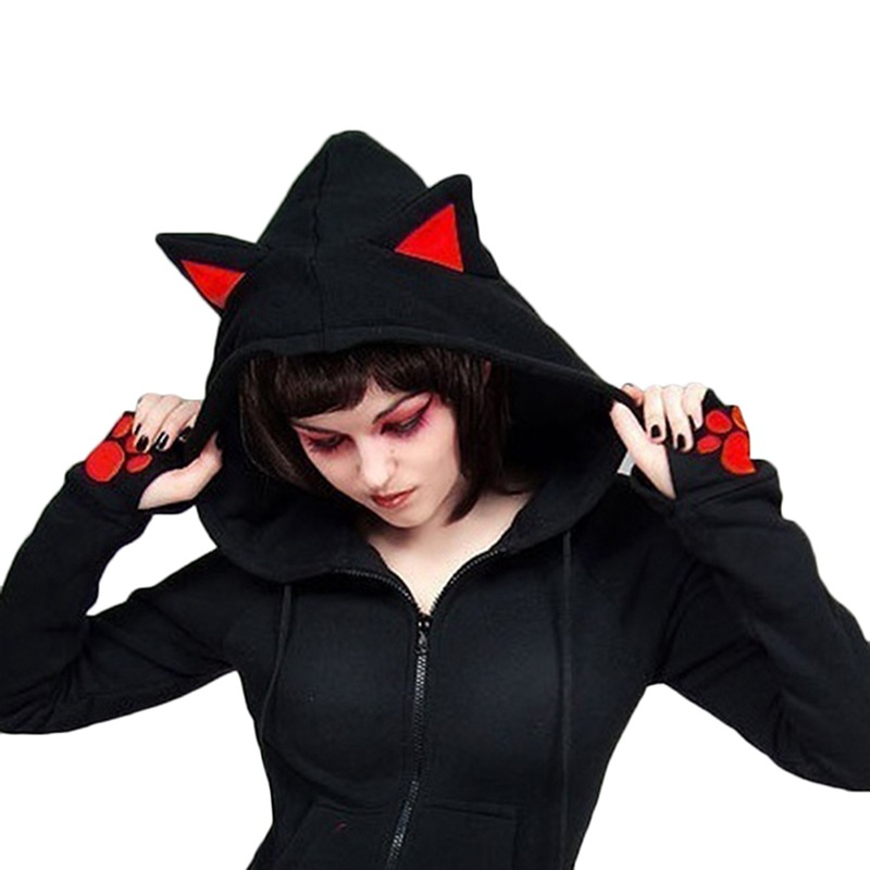 Autumn Hoodie Women Cat Ears Hoodies Female Casual Zipper Hoodies Long Sleeve Black Sweatshirts Thin