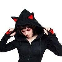 Autumn Hoodie Women Cat Ears Hoodies Female Casual Zipper Hoodies Long Sleeve Black Sweatshirts Thin