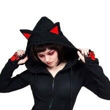 Herfst Hoodie Vrouwen Kat Oren Hoodies Vrouwelijke Casual Rits Hoodies Lange Mouw Zwarte Sweatshirts Dunne