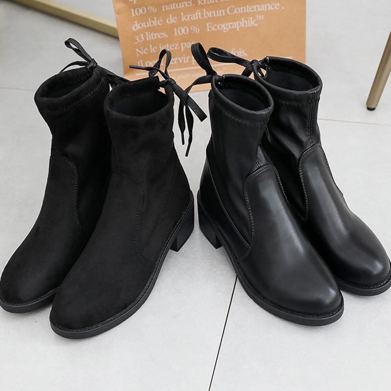 3ade55b9b694ea Chaussures Troupeau Moxxy Plat Cuir Épais À Bottes forme Cheville Pu Black  Carré Talon Femme black Footware Flock Mujer Pu Plate Automne ...