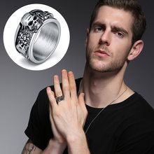 Stainless Steel Rock Roll Kpop Silver Gothic Punk Skull Rings Old Wrinkle Skull Big Rotating Bikers Bible Men's & Boys' Jewelry(China)
