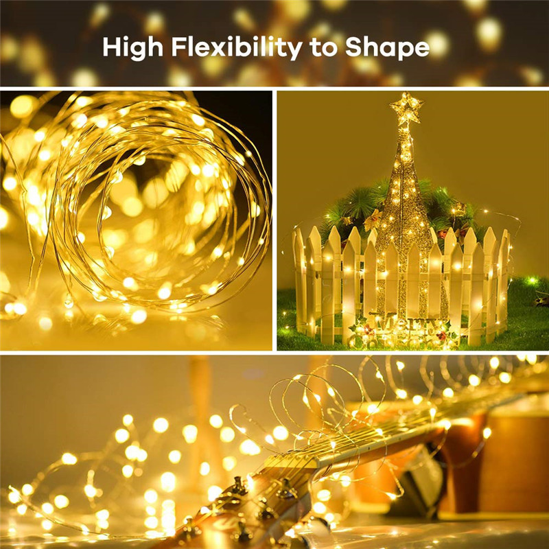 Image 5 - 72ft 22M 200 LED Solar Strip Light Home Garden Copper Wire Light String Fairy Outdoor Solar Powered Christmas Party Decor-in LED String from Lights & Lighting on