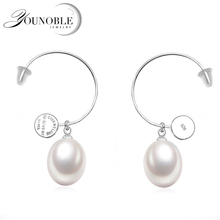 100% Real 925 Sterling Silver Earring For Women,real Natural Freshwater Drop Water Pearl Girl Gift