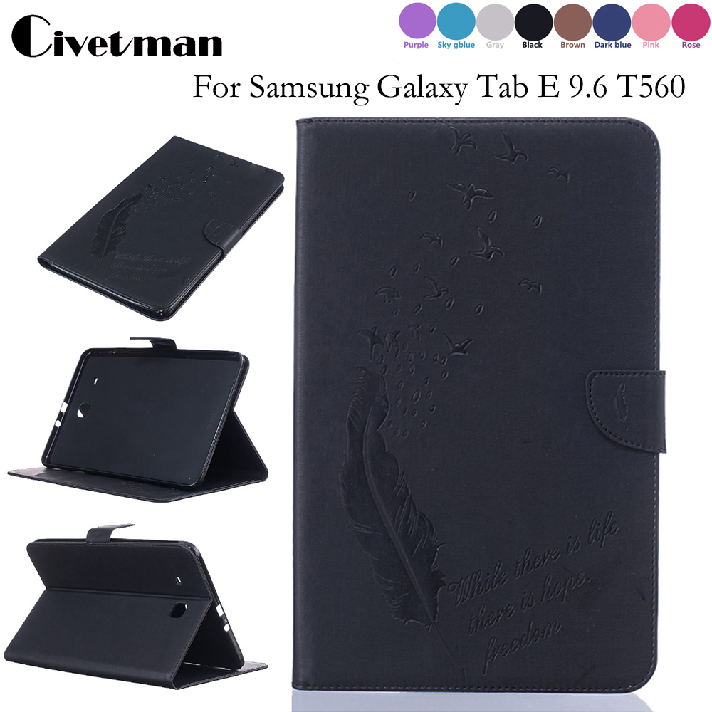 Tablet Case Folding Flip Wallet PU Leather Stand Cover Case For Samsung Galaxy Tab E 9.6 T560 SM-T561 T565 Holder Protection yh printed flip stand skull cute owi leopard pu leather cover case for samsung galaxy tab e 9 6 inch tablet t560 t561 sm t560