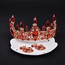 3 шт., свадебные, большие, в стиле барокко, китайские, красные, принцесса, невесты, стразы, корона, роскошные хрустальные диадемы, свадебные, для выпускного, ювелирные изделия для волос, аксессуары