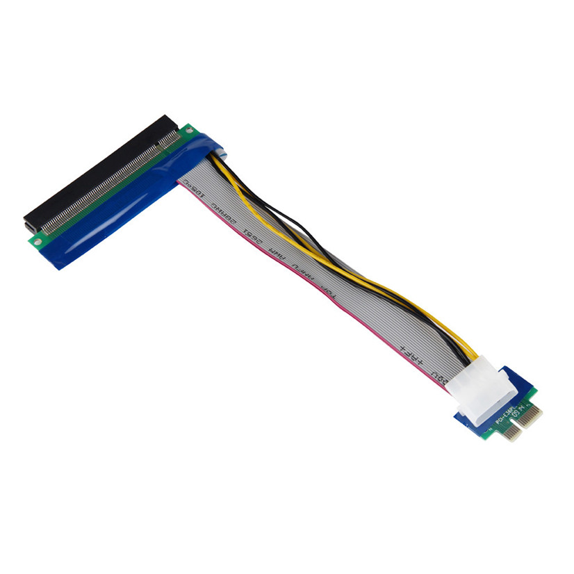 Factory price NEW Hot PCI-E 1x To 16x Riser Card Ribbon Extender Extension Cable With Molex Power Free Shipping
