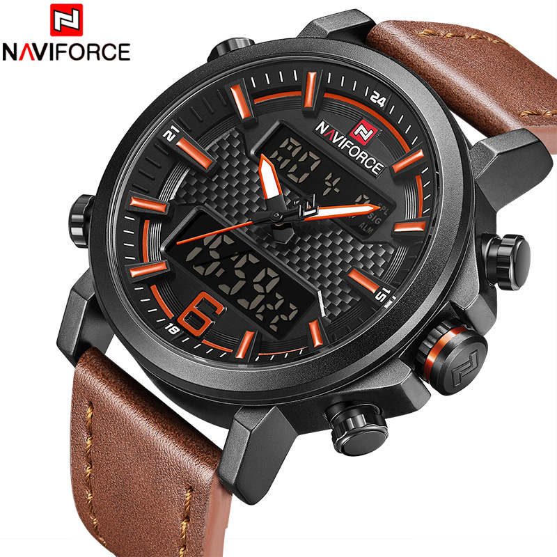 Men Leather LED Waterproof Quartz Clock Men's Army Military Sport Watches