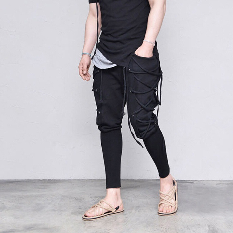 Fashion Male Hip Hop Bandage Pants Solid Color Harem Pants Men's Trousers Slim Fit Elastic Street Wear Pencil Pants