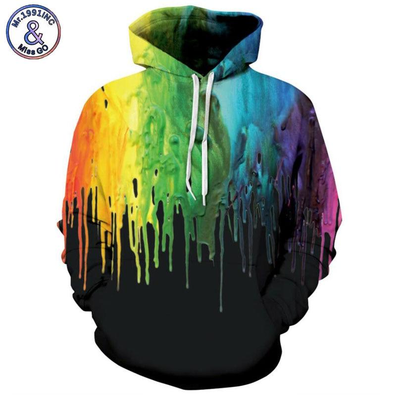 Mr.1991INC 2018 new color gradient printing 3d Sweatshirts Men/women hoodie sweatshirt Casual Hooded Pullovers Men Hoodies M131