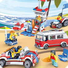 374pcs Childrens educational toys Assembling blocks Compatible Legoeds city Camping car convertible Holiday villa 3in1 gift