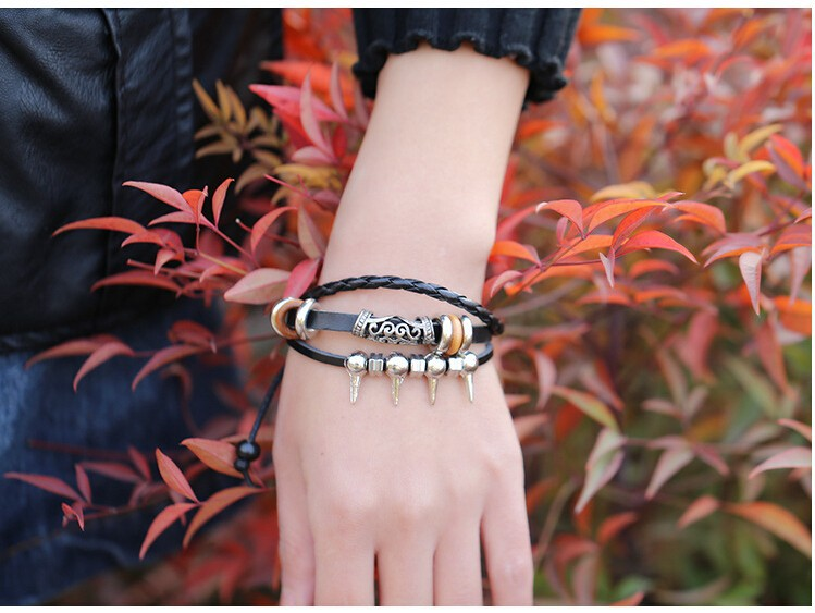 Punk Rock Style Silver Plated Spike Rivet Wristband Wrap Lady Bracelet Genuine Black Leather Braided Personality Bracelet Bangle