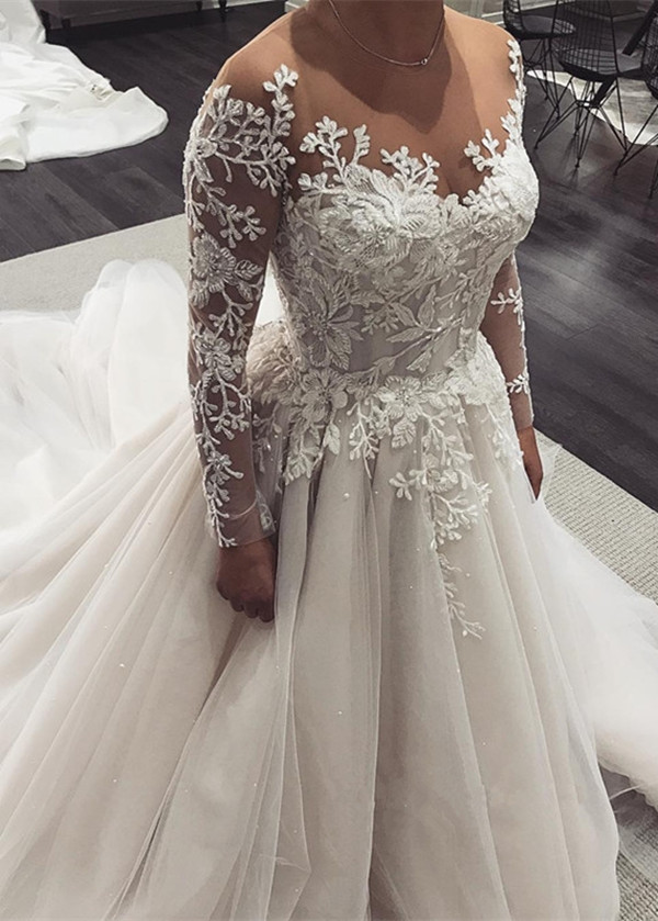 Long Sleeves Wedding Dress 2019 Vestido de Noiva Bride Dresses robe de mariag Wedding Gowns China Online Shop Custom Made