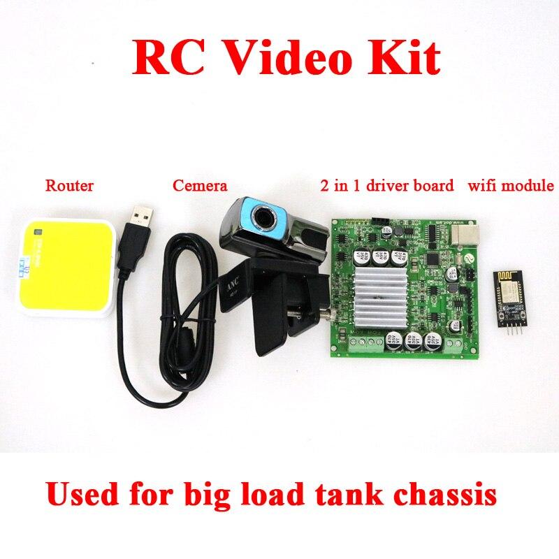 Kit de contrôleur vidéo DOIT RC avec UNO + carte pilote de moteur + Module WiFi + Cemera + routeur pour châssis de réservoir de Robot intelligent à grande charge