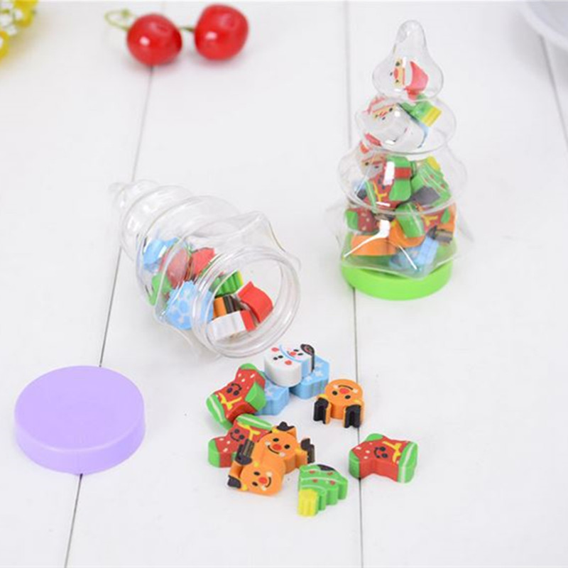 Coloffice 1PC Cartoon Christmas Tree Rubber Kawaii Shape Pencil Eraser For Kids Student Gift Novelty Item Office School Supplies