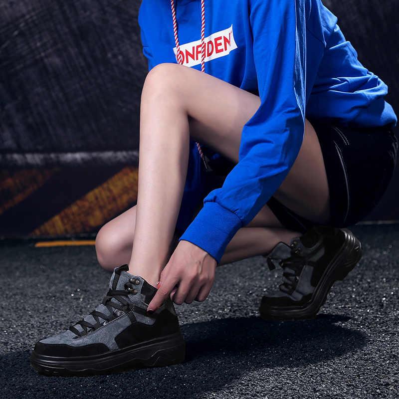 ADBOOV Nova Queda Sapatos de Inverno Mulher Tênis De Plataforma de Couro Camurça Mulheres Sola Grossa Sapatos de Alta Superior Ao Ar Livre Cesta Femme