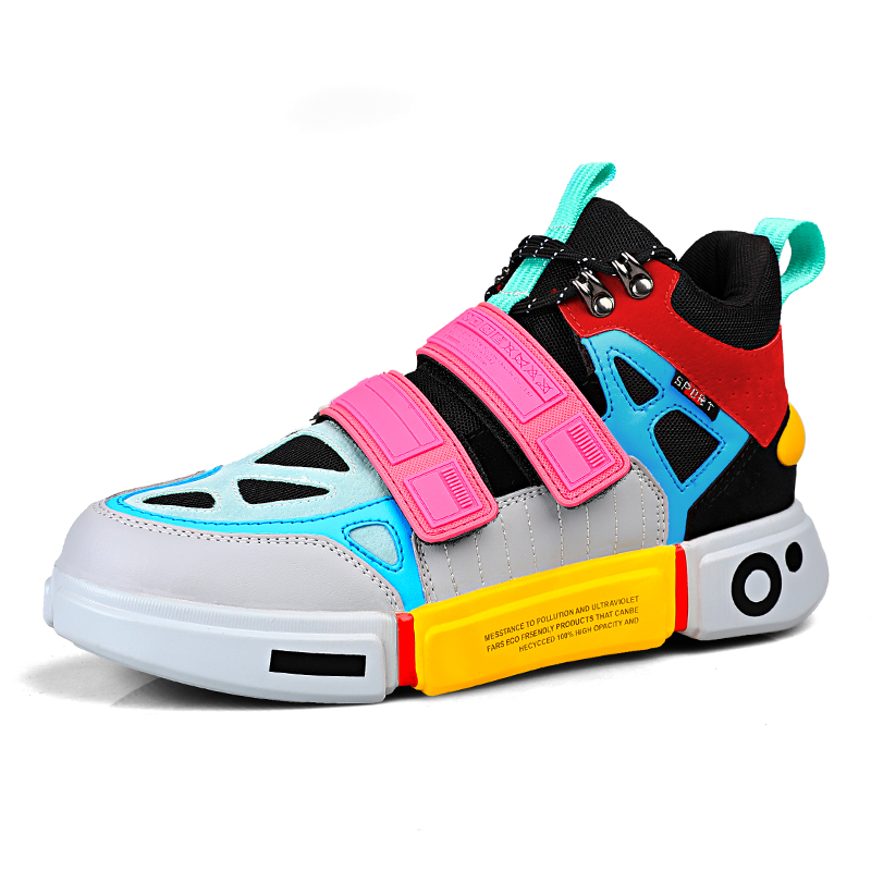 Unisex High Top Sneakers Women Super Cool Breathable Sock Shoes Thick Sole Sapato Feminino Black/White Walking Shoes Men Sneaker