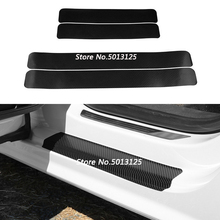 купить 4Pcs Carbon Fiber Door Pedal Bumper 3D Scratch Protector Sill Scuff Threshold For Volkswagen VW Tiguan MK2 2017 2018 2019 в интернет-магазине