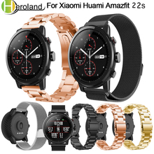 22mm Stainless Steel Milanese Wristband for Original Xiaomi Huami Amazfit Stratos 2 2s smart watchBand 2018 band strap bracelet 22mm metal stainless strap for xiaomi huami amazfit pace stratos 2 2s watch bracelet band milanese loop magnetic strap wristband