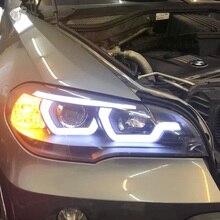 Kiểu Dáng Xe Cho Xe BMW X5 E70 2007 2013 Đèn Pha Cho Xe BMW X5 Đầu Đèn Tự Động Đèn LED DRL Xà Kép h7 HID Xenon Bi Xenon Ống Kính