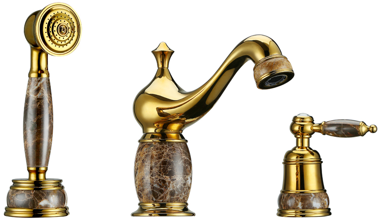 Gold clour 8 inch widespread 3 pieces bathroom Lavatory ...