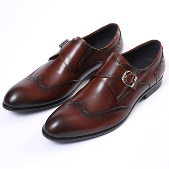 Monk Shoes Black / Deep Brown Pointed Toe Prom Shoes Boys Dress Shoes Genuine Leather Wedding Shoes Male Business Shoes