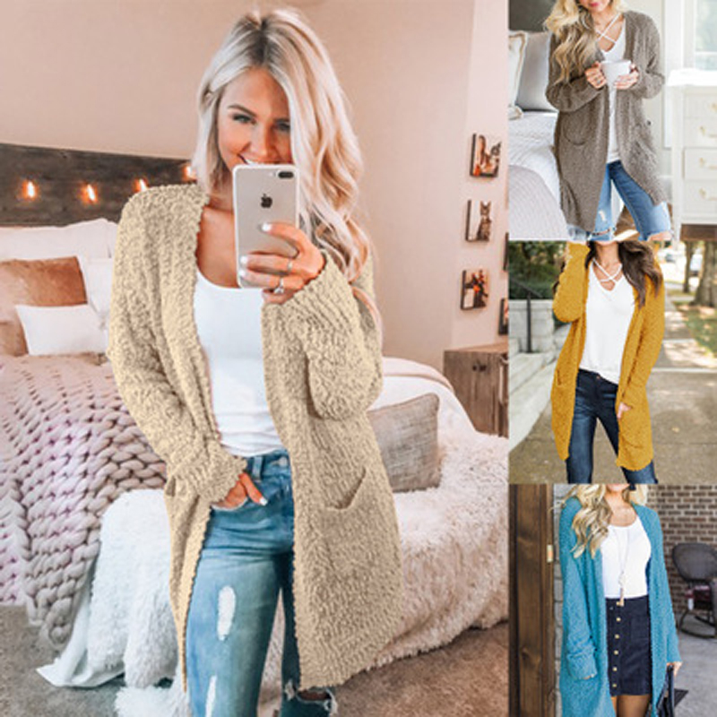 New Fashion Women Long Cardigan With Pockets Girl Casual Long Sleeve Loose Knitted Cardigans Autumn Winter Sweater Outerwear