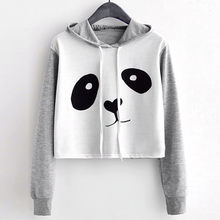 Crop Top Hoodie Womens Clothing Fashion Print Long Sleeve Cartoon Panda Autumn 2018 Ropa Juvenil Mujer(China)
