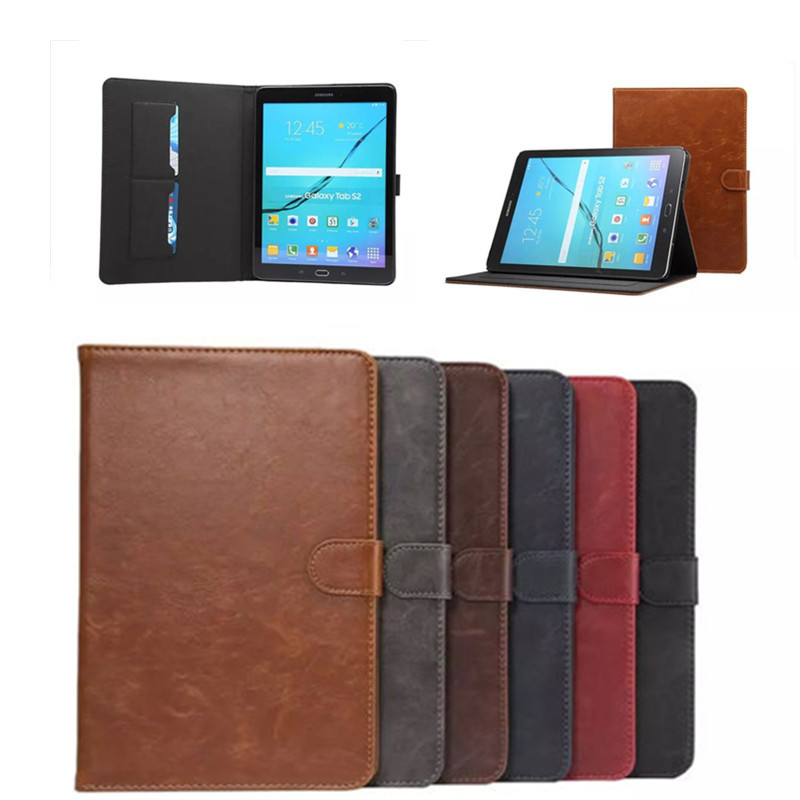 DS Folio Crazy Horse pattern PU Leather Case For Samsung Galaxy Tab S2 9.7'' T810 T815 T813 T819 Cover Tablet with Card Slot for samsung t530 tablet case folio crazy horse pattern pu leather stand book cover for samsung galaxy tab 4 10 1 inch t531 t535
